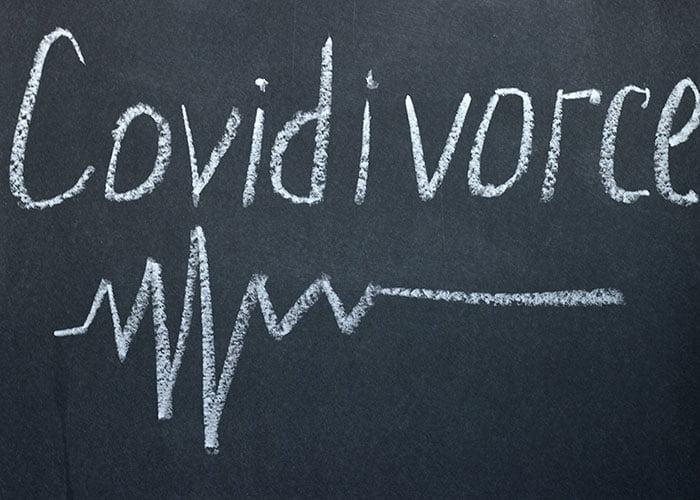 blackboard with Covidivorce writen on it